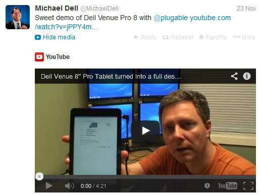 Michael Dell shares our Dell Venue Pro 8 Video on Twitter