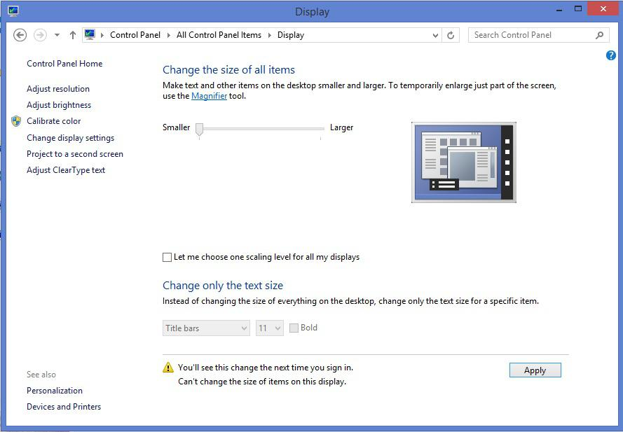 Display settings window on Windows 8.1