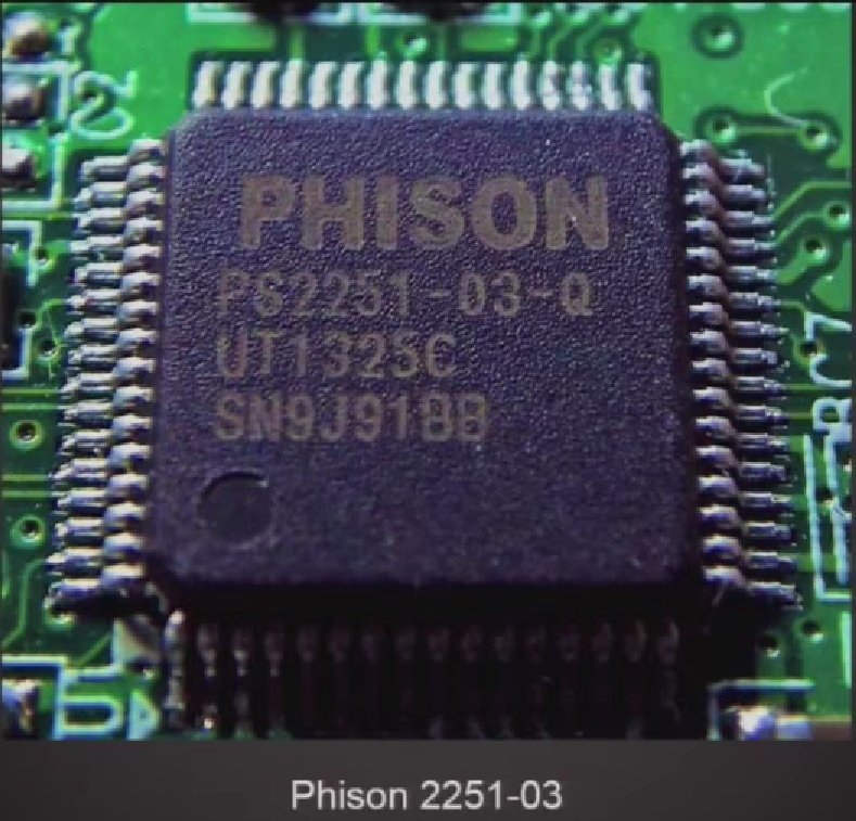 Closeup of the Phison flash storage controller
