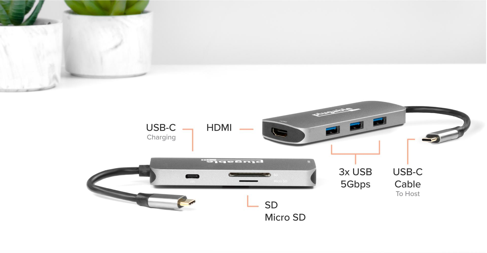 The hub supports not only a variety of data connections but also an HDMI port
