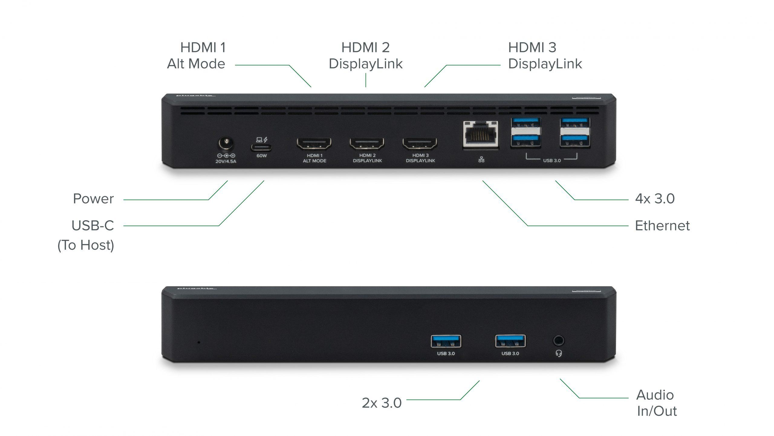 The UD-3900PDZ keeps most of its ports in the back but maintains easy access to two USB 3.0 ports and an audio jack