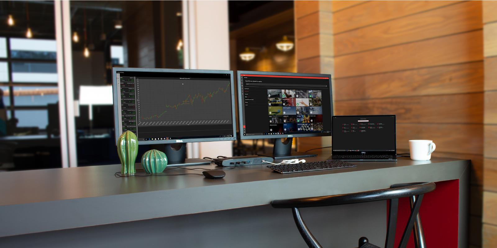 Display setup using two 4K HDMI monitors and a Plugable UD-6950H