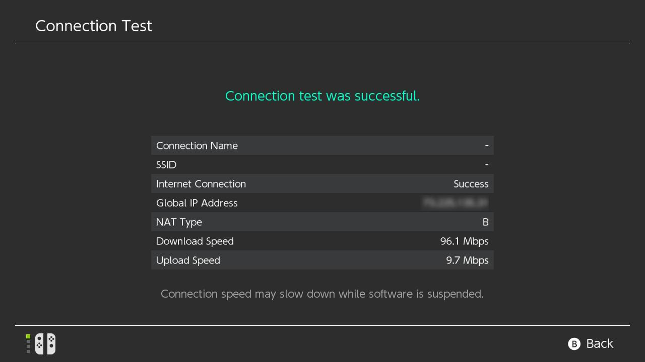 A speedtest showing a fast internet connection on the Nintendo Switch