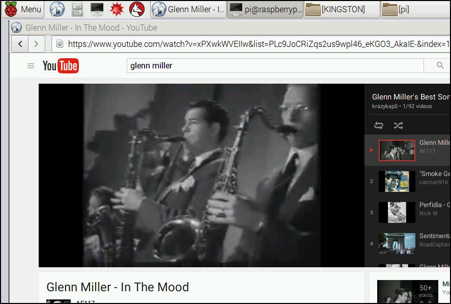Listening to Glenn Miller's In the Mood on the Raspberry Pi
