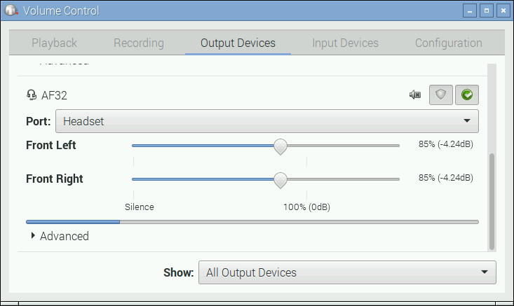 Volume control window