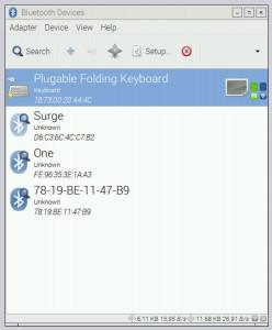 The Plugable Folding Keyboard is connected