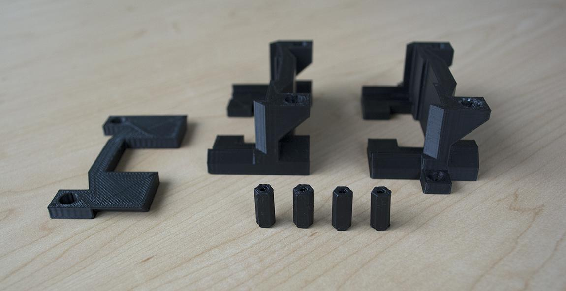 Individual modular stackable parts of our 3D-printed hub stands