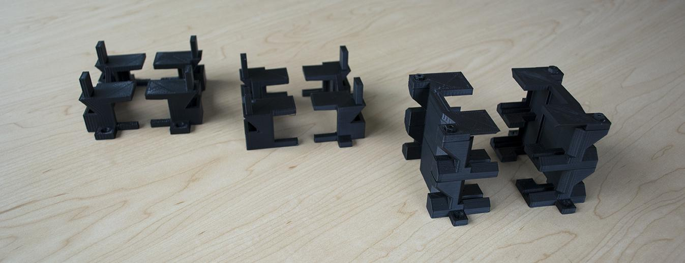 The 3D printed stands allow for stacking of multiple hubs at once