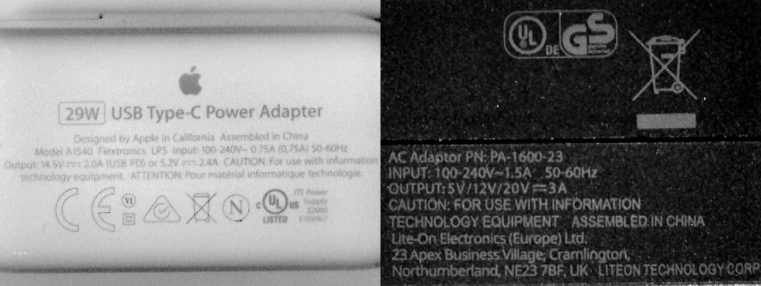 The specs found on the power adapters for the MacBook and Chromebook