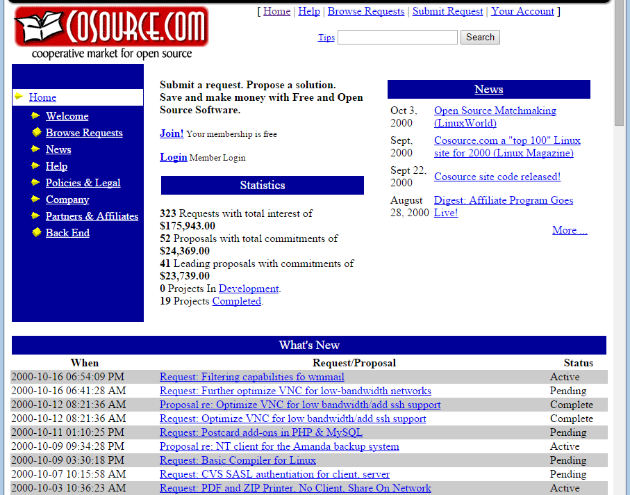 Screenshot of Cosource.com taken later in October 2000