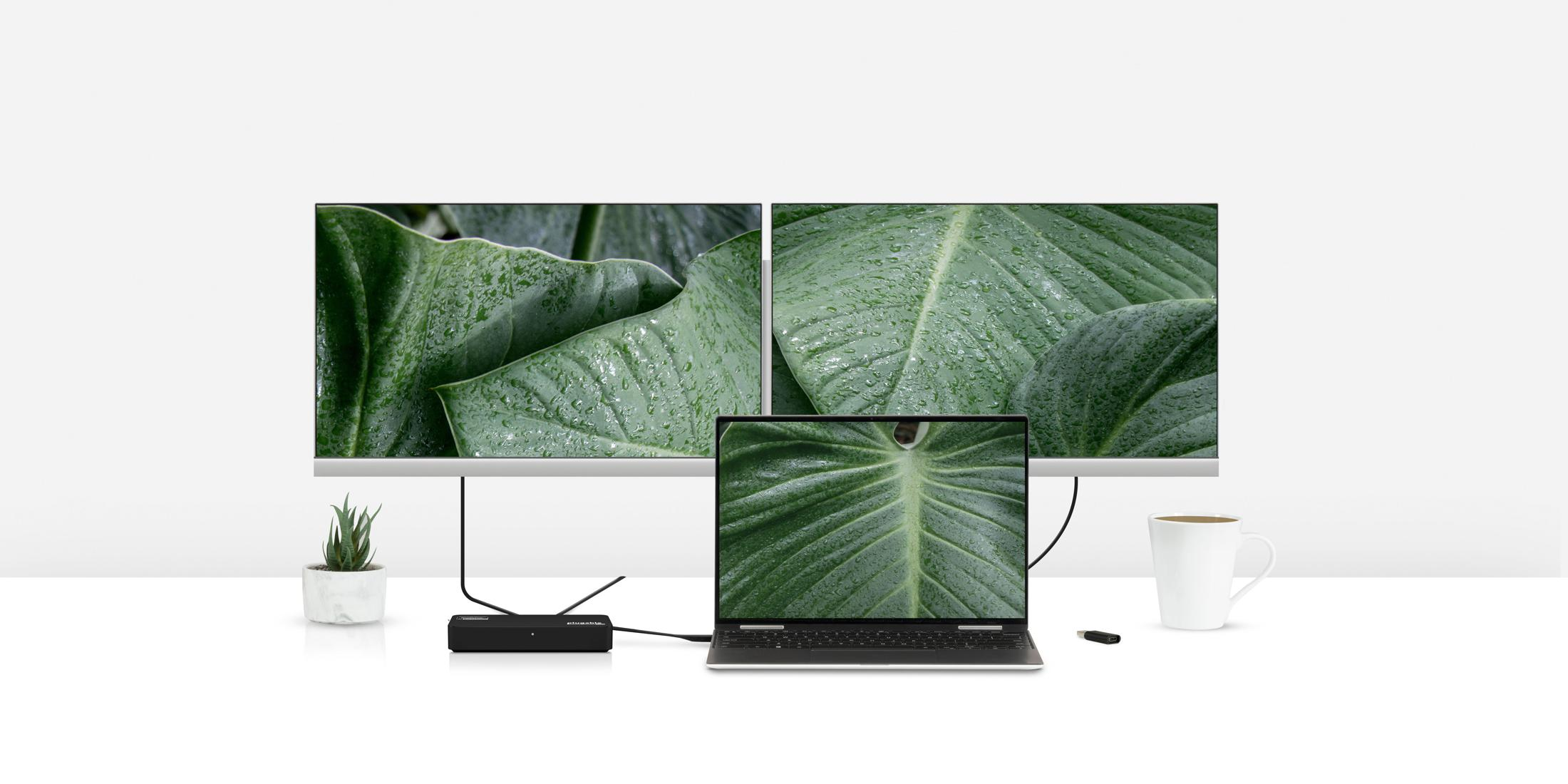 USBC-6950U connected to two monitors on a desk