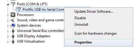 Device Manager Ports COM and LPT section expanded menu