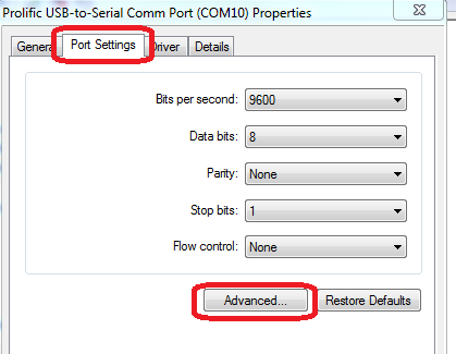 Serial Adapter Properties page