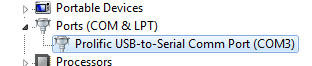 Verify COM Port number in the Device Manager Port COM and LPT section