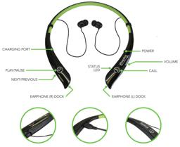 Thumbnail of Buttons and Controls on Bluetooth Wireless Flexible Neckband Headset
