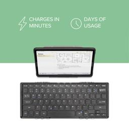 Thumbnail of Bluetooth Full-Size Keyboard Folding Keyboard charges fast and lasts long