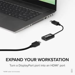 Thumbnail of Showing DisplayPort adapter lined up with laptop and HDMI cable