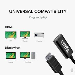 Thumbnail of Graphic showing adpater comaptibility with Laptop, Desktop, TV, Monitor, Projector