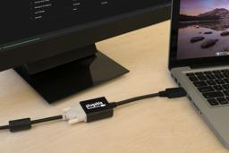 Thumbnail of DP to DVI adapter in use