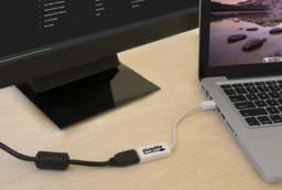Thumbnail of mDP to HDMI adapter connected to monitor and computer
