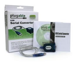 Thumbnail of PL2303-DB9 with box and contents; serial adapter, CD and Quick Start guide