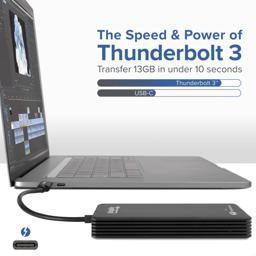 Thumbnail of Image indicating that with Thunderbolt 3 one can transfer 13 GB of data in under ten seconds