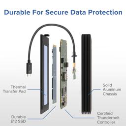 Thumbnail of Image showing the Plugable Solid State Drive's parts, indicating its durable construction