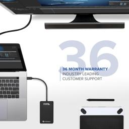 Thumbnail of Image of the Plugable Drive connected to a laptop describing the product's 36-month warranty