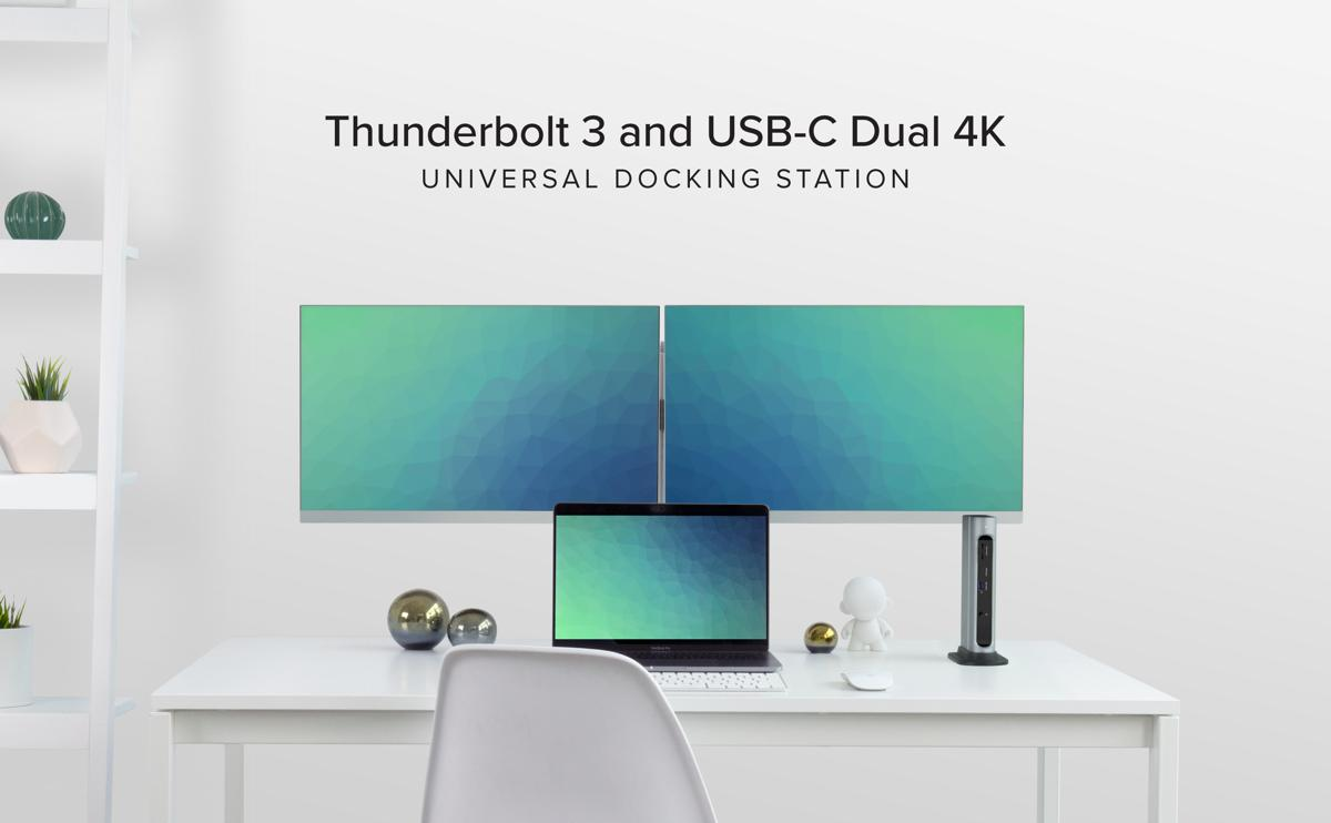 Lifestyle: TBT3-UDZ on a desktop with MacBook Pro, two displays, and a mouse