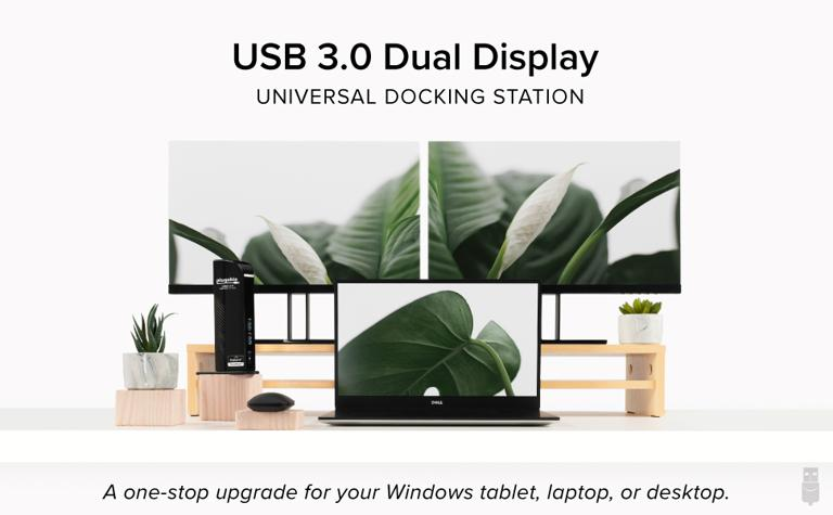 Lifestyle image for the UD-3900 dual-display docking station