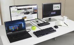 UD-3900H Lifestyle on desktop with laptop, two displays, keyboard, and mouse