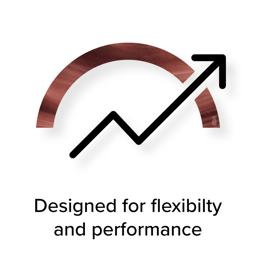 Infographic arc with arrow representing high performance and text 'Designed for flexibiltiy and performance'