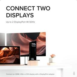 Thumbnail of UD-6950 docking station in front of laptop and two displays with text 'Connect two displays: up to two DisplayPort 4K 60Hz' and 'Connect an HDMI, VGA, or DVI display with a DisplayPort adapter'