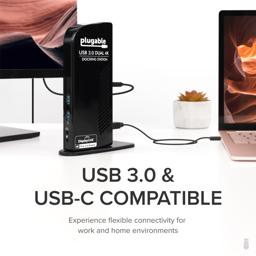 Thumbnail of UD-6950 docking station connected to laptop and display with text 'USB 3.0 & USB-C Compatible: Experience flexible connectivity for work and home environments'