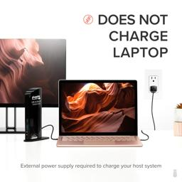 Thumbnail of UD-6950 connected to computer with computer's power supply also connected and text 'Does not charge: External power supply required to charge your laptop'