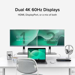 Thumbnail of Close up view of the DisplayPort and HDMI outputs on the dock text