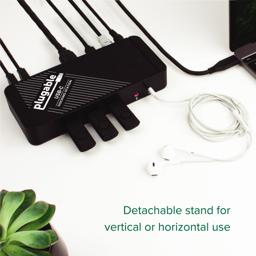 Thumbnail of Image from above of the Plugable USB-C Docking Station connected to numerous peripherals