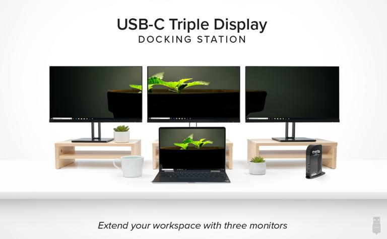 USB-C Triple Display Docking Station connected to three monitors