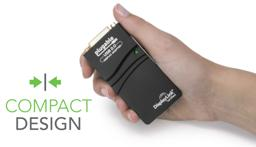 Thumbnail of Image of the compact Plugable Display Adapter fitting into a hand