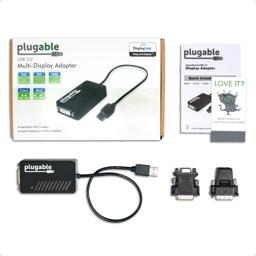 Thumbnail of Image of the package, including the Plugable Graphics Adapter, two passive adapters, and a Quick Start Guide