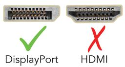 Thumbnail of An image detailing the difference between a DisplayPort connection and an HDMI port