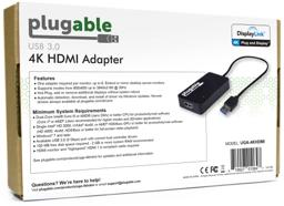 Thumbnail of Image of the back of the box for Plugable's 4K HDMI adapter, detailing its features and system requirements