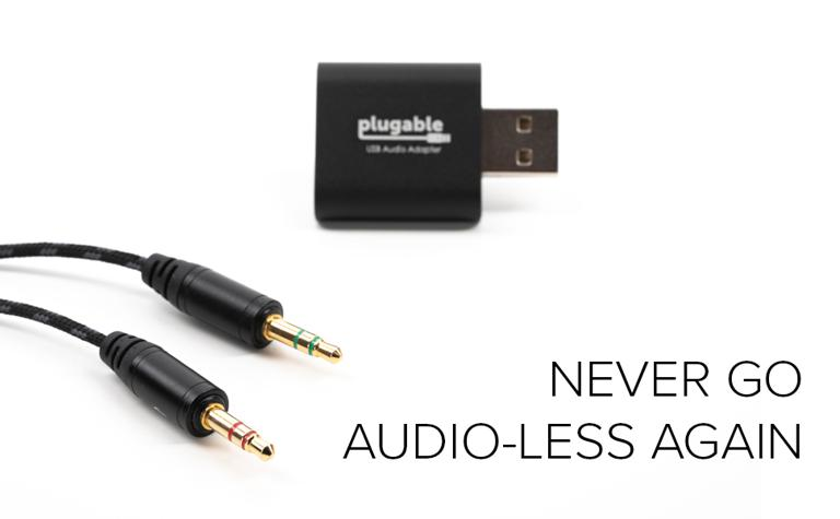 USB-AUDIO adapter next to 3.5mm audio connections with the text never go audio-less again