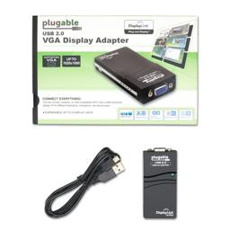 Thumbnail of Image of the packaging for the VGA display adatper, including a USB cable and the product itself