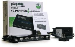 Image of the product packaging for the Plugable USB 2.0 10-port hub