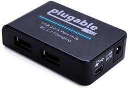 Thumbnail of Main image of the Plugable USB 2.0 4-Port Hub with 12.5 Power Adapter