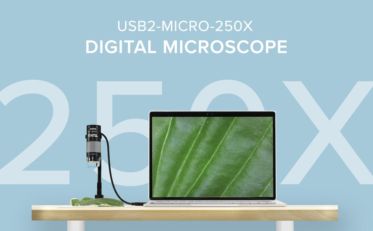 microscope and laptop computer on a desk, microscope viewing a leaf and displaying zoomed-in view on laptop