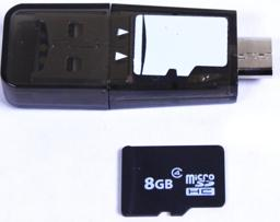 Thumbnail of Scale image with a microSD card of the USB 2.0 MicroSD card reader for phone, laptop, and tablet