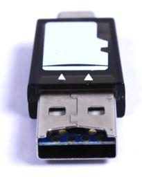 Thumbnail of end-on detail photo of the USB 2.0 microSD card reader for phone laptop and tablet
