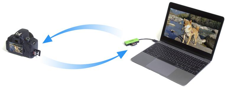 Image showing how the Plugable USB3-FLASH3 makes it easy to transfer photos from camera to computer